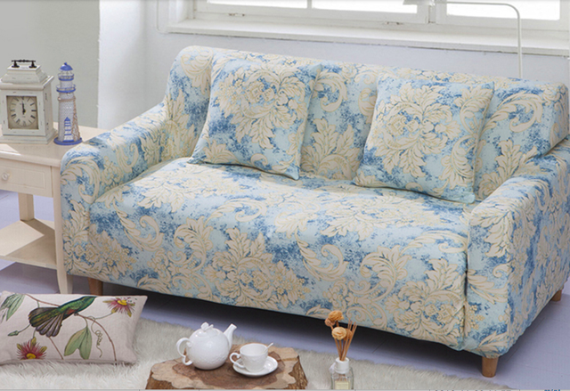 Spandex Stretch Yellow Flower Pattern Sofa Cover Elasticity 100 Polyester Furniture