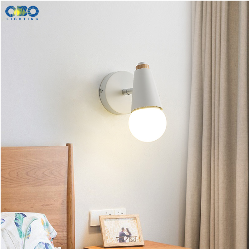 Modern Macaron Wall Lamp Iron Wood Mirror Light Bedside Bedroom Indoor Lighting E27 Light Bulb Retro  LED Wall Light Nordic 3
