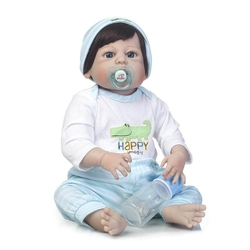 57cm Simulation Silicone Reborn Boy Baby Doll Kids Bathing Playmate Lifelike Gifts Soft Baby Kids Toys lovely simulation reborn baby doll kids sleeping playmate accompany silicone toys lifelike children high quality toys gift