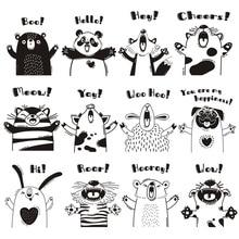 Cartoon Animals Wall Sticker for kids Childrens room nursery Home decorations wallpaper mural Cute animal Stickers art Decals