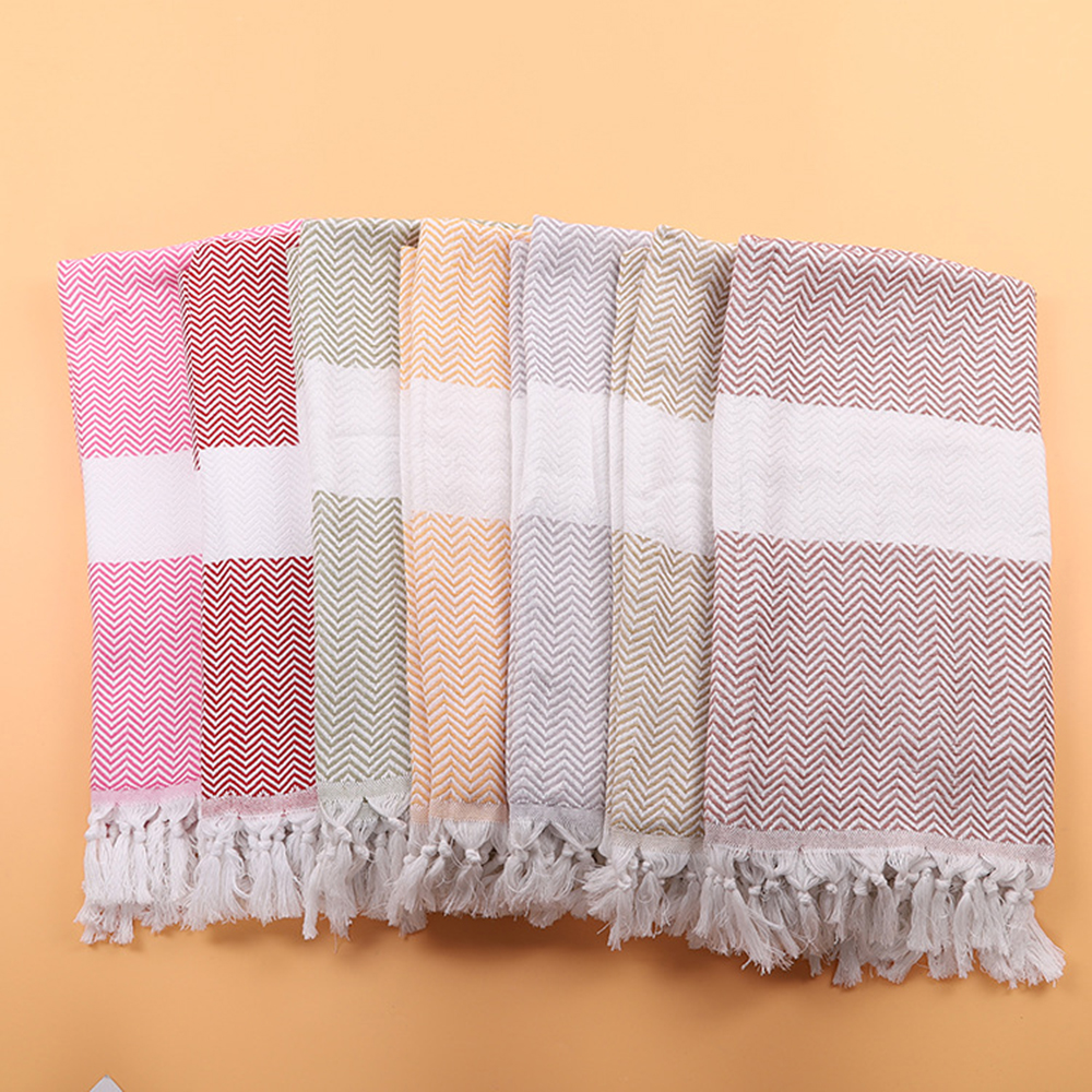 Enipate 100% Cotton Turkish Beach Towels Stripes Tassel