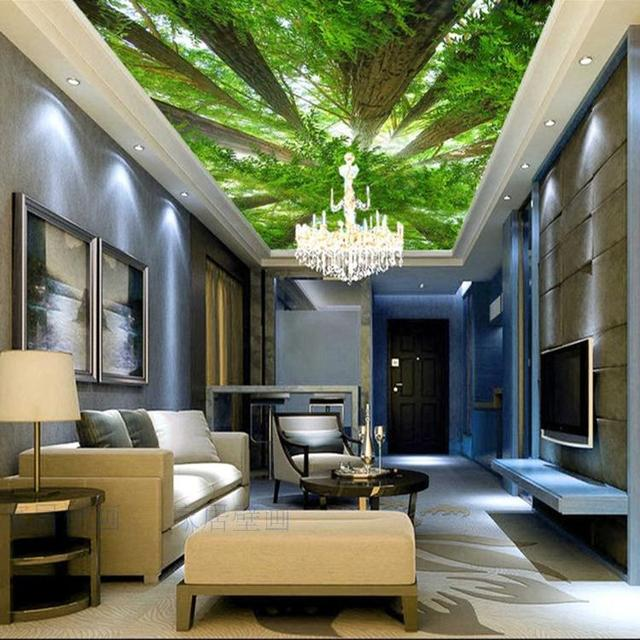Living Room 3d Wallpaper aliexpress : buy wholesale green trees forest mural 3d ceiling