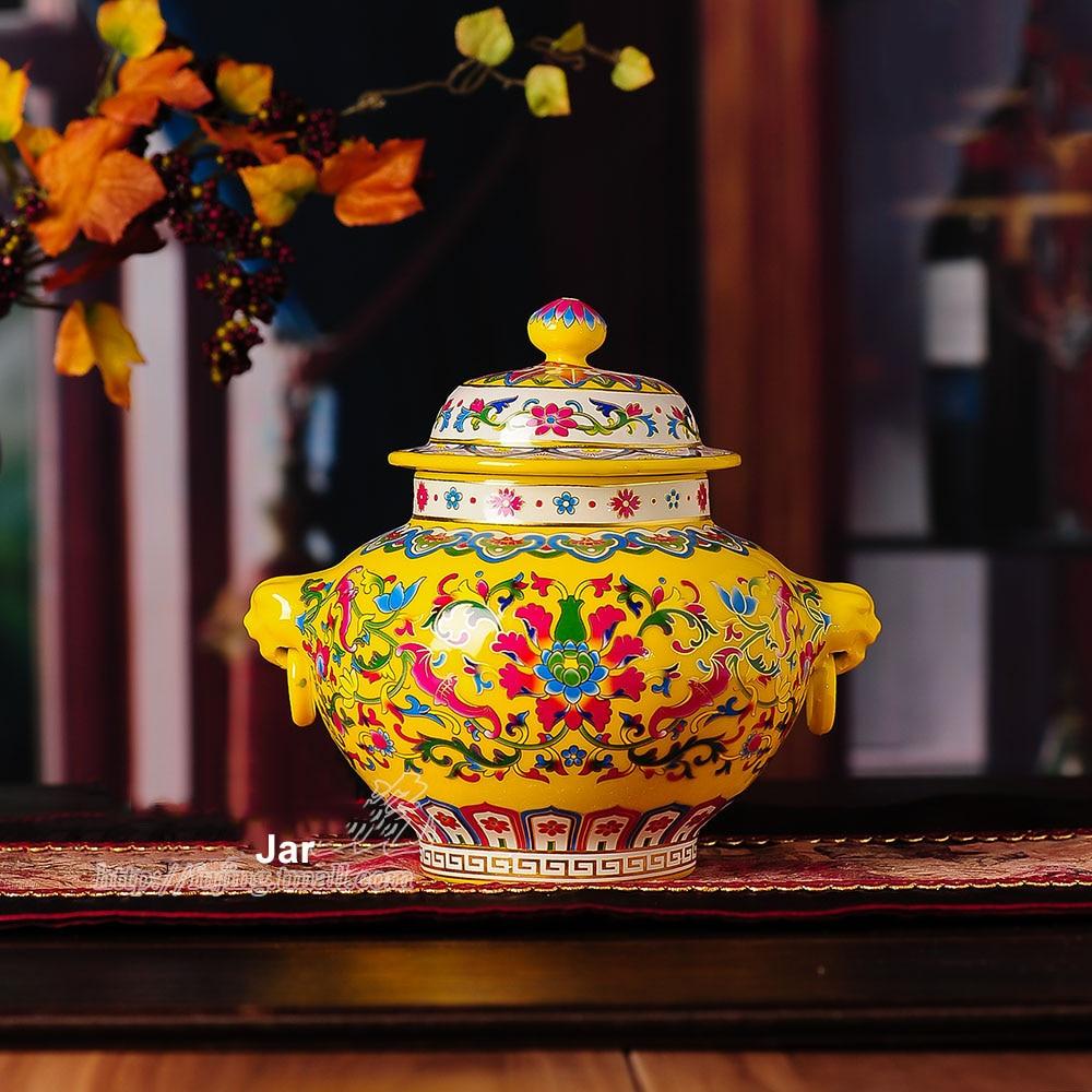 Antieke Palace keramische vaas emaille antieke vaas hoed-bedekte pot - Huisdecoratie