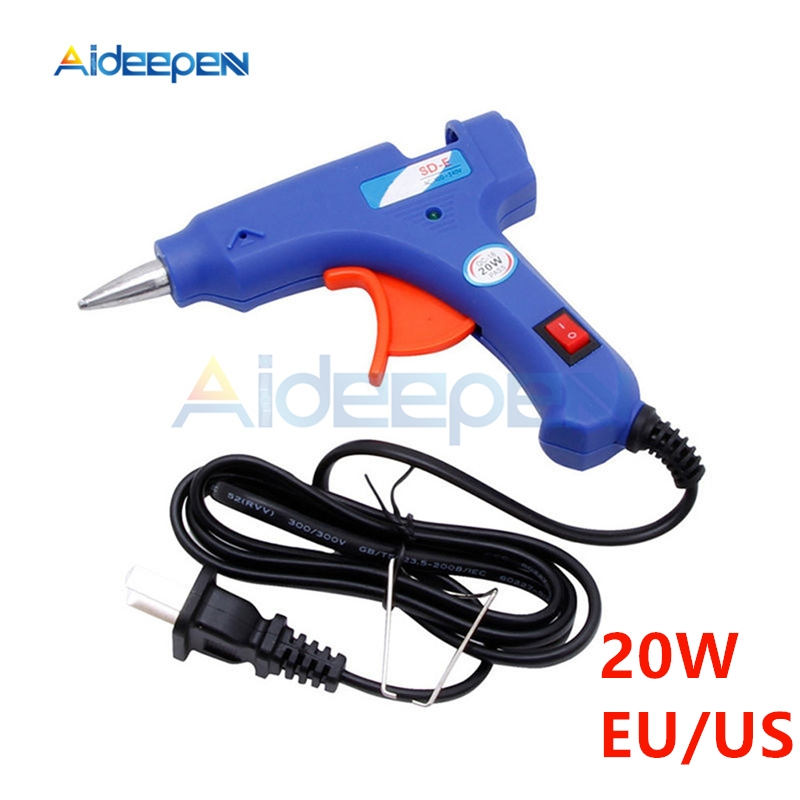 20W EU/US Plug Hot Melt Glue Gun Stick Industrial Mini Guns Thermo Electric Heat Temperature Tool Use 7mm Hot Melt Glue Sticks