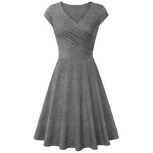New V Neck Soft Short Sleeve Cotton Dress