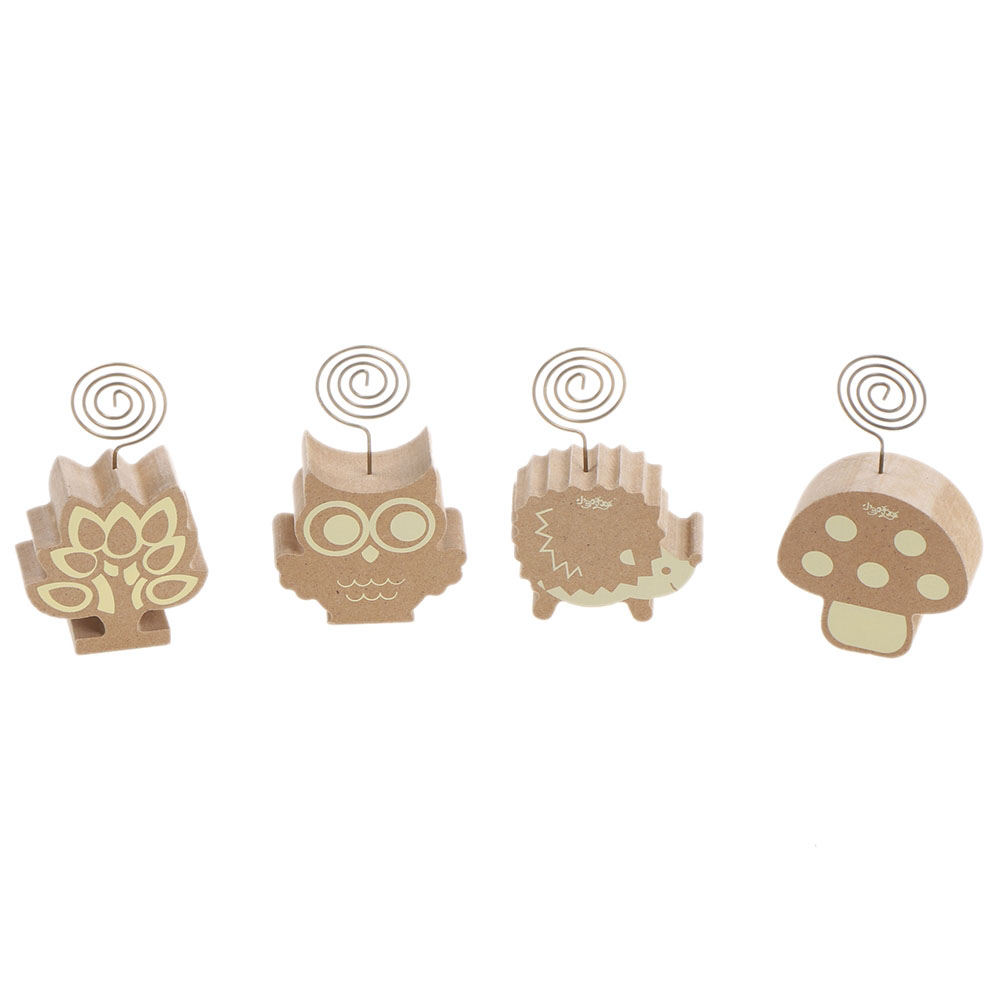 Small Wooden Cute Mushrooms Hedgehog Owl Tree Memo Pincer Clips Paper Photo Clip Holder Wooden Clamps Stand Peg Desk Gadget