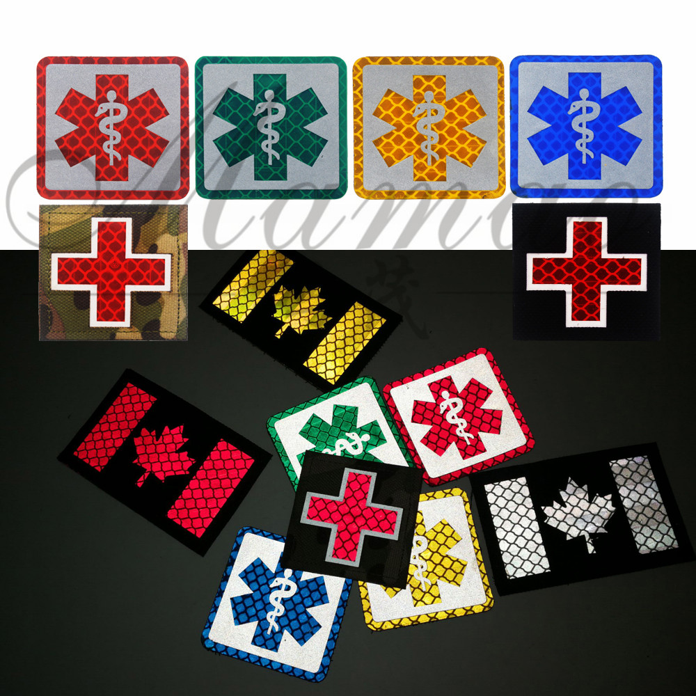 Reflective Medic Multicolor Cross Medical Rescue Emt Ir Patches Army Badge Tactical Military Patches Pvc Glow In Dark Badges Rock & Pop
