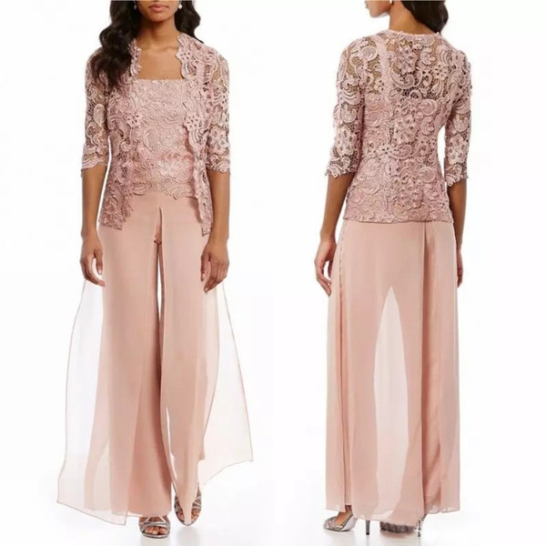 3 Pieces Mother Of The Bride Dresses 2018 Pants Suit With