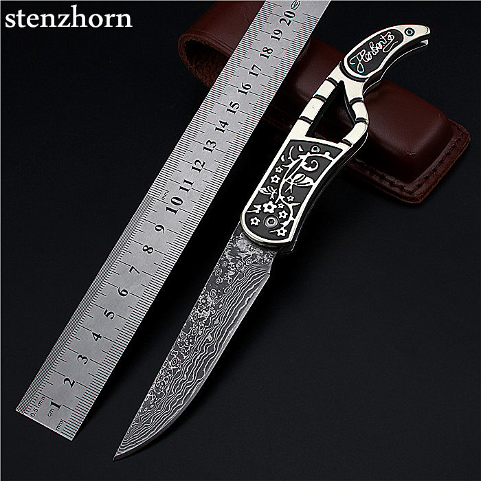 Stenzhorn 2017 New Limited Blossom Folding Knife Outdoor Field With Authentic Damascus High Hardness Wilderness Survival Knives stenzhorn 2017 new real authentic self defense wilderness survival high hardness knife with wild fruit folding outdoor the devil