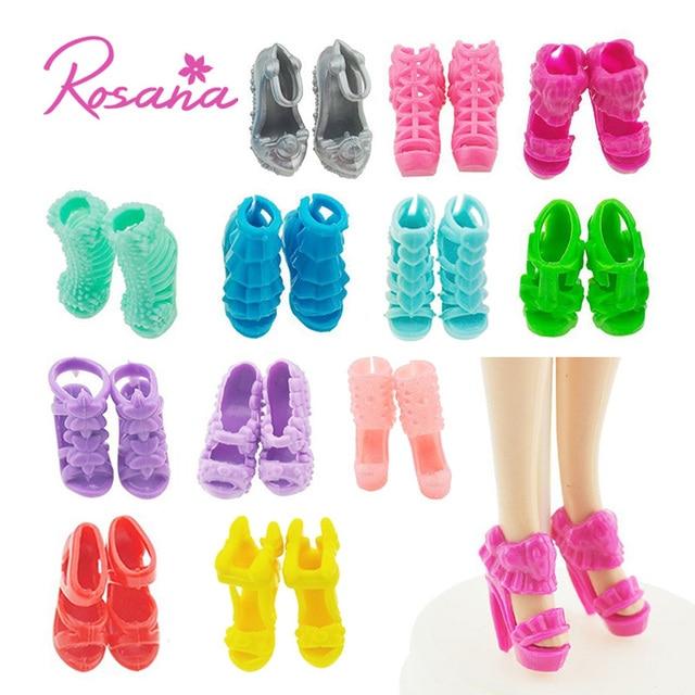 3941c39d6 Rosana 12 Pares Mix Estilo Moda Sapatos para Boneca Barbie Botas Sandália  De Salto Alto Sapato