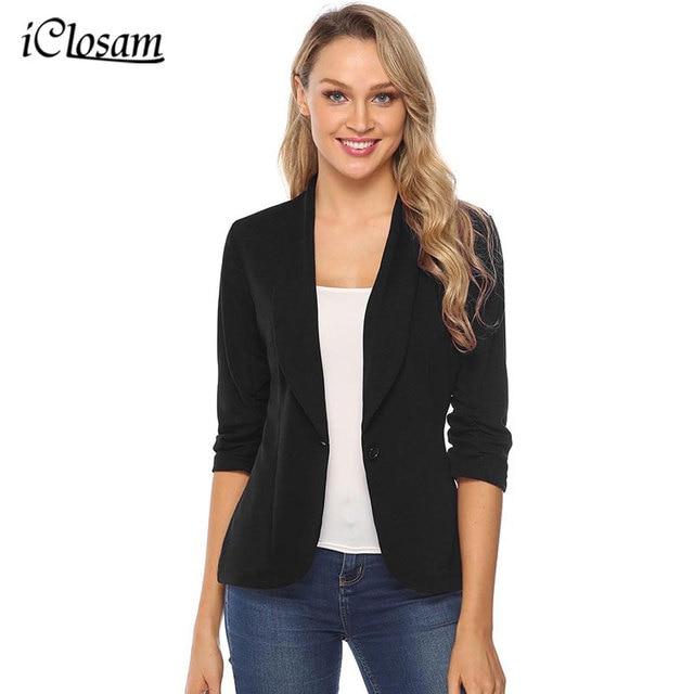 IClosam Blazer noir classique pour femmes, costume veste cintrée, couleur unie, tendance, manches longues, pour le bureau, collection 2019