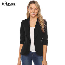 IClosam Women Classic Black Blazer elegancka jednolita kolorowa wąska kurtka garnitur 2019 New Fashion z długim rękawem biurowa, damska marynarka