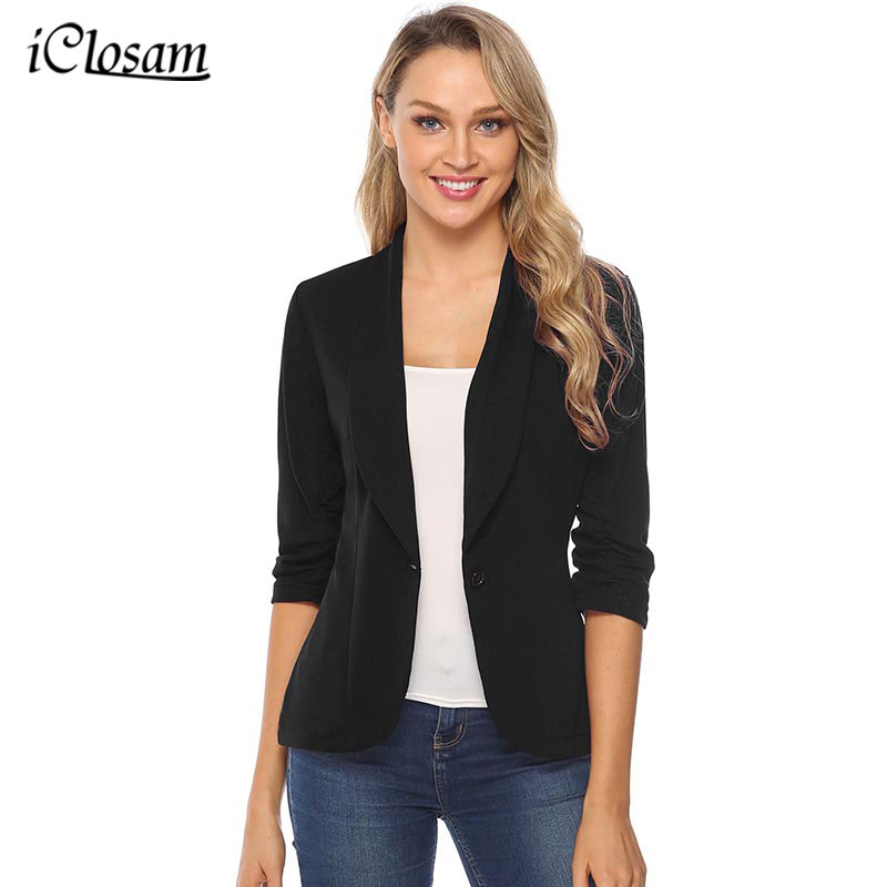 iClosam Women Classic Black Blazer Elegant Solid Color Slim  Jacket Suit 2019 New Fashion Long Sleeve Office Ladies BlazerBlazers