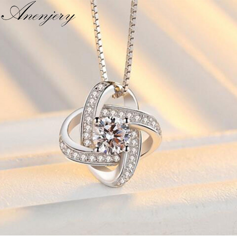 Anenjery 925 Sterling Silver Necklace For Women Forever Heart AAA Zircon Mosaic Necklaces & Pendants Sterling-silver S-N188