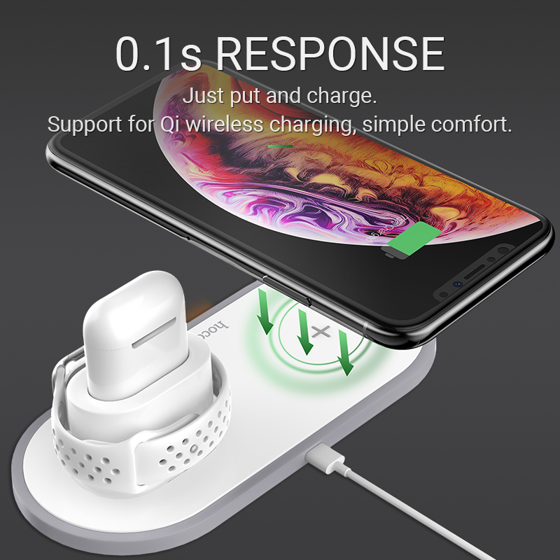 Image 5 - hoco wireless charger for iPhone iWatch AirPods 2in1 3in1 charging base desktop dock station wireless adapter 5W / 7.5W / 10W-in Wireless Chargers from Cellphones & Telecommunications