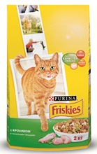 Сухой корм Friskies для взрослых кошек с кроликом и полезными овощами, Пакет, 2 кг