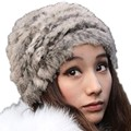 Fashion Winter Hat Imitation Fur Hats For Women Color Mixing Knitted Bonnet Femme Artifical Cony Hair Warm Cap