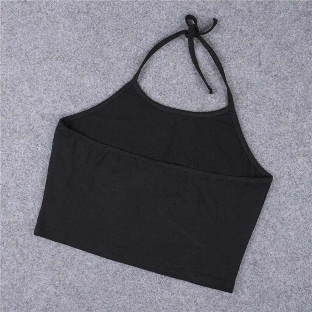 1PC Women I HAVE NO TITS Letter Sleeveless Cotton Bralette Halterneck Tank Top Summer Sexy Crop Tops