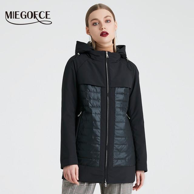 MIEGOFCE 2019 Новая Коллекция Моды Весна Осень Женская Короткая Куртка с Капюшоном Ветрозащитный Утепленный Европейский Стиль Пальто