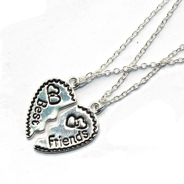 Online shop 2 parts best friends necklace makes as heart broken 2 parts best friends necklace makes as heart broken pendant type best gift shown friendship aloadofball Choice Image