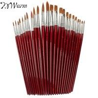 KiWarm Newest 12pcs Different Size Artist Fine Nylon Hair Paint Brush Set For Watercolor Acrylic Oil