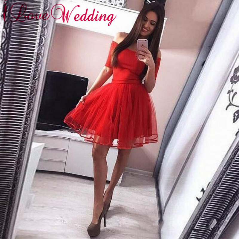 Hot New 2019 Strapless A Line Homecoming Dresses Short Sleeves Red Organza Layered Short Mini Party Dresses Gown