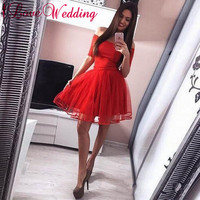 b05d6907a4568 Hot New 2019 Strapless A Line Homecoming Dresses Short Sleeves Red Organza  Layered Short Mini Party