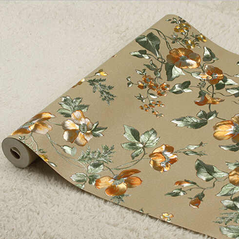 Pastoral Retro Floral Wallpaper Roll Luxury 3D Rose Flowers Background Wallpaper Bedroom wallpaper For Walls PVC Wallpapers 2015 new brand 5m roll victorian country style for floral flowers background wallpaper