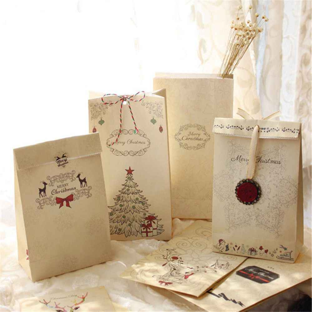 1Pcs New Eco Friendly Kraft Paper Bag Merry Christmas Gift Bags Party Lolly Favour Bowknot Wedding Packaging 22x12x6cm