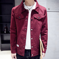Denim Jacket Men Classic Herringbone Denim Jeans 2016 100% Cotton Vintage Coat Casual Short Jacket For Men Red Black and Blue