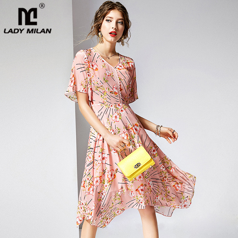 100 Natural Silk Women s Runway Dresses V Neck Short Sleeves Floral Printed Appliques Asymmetrical Casual