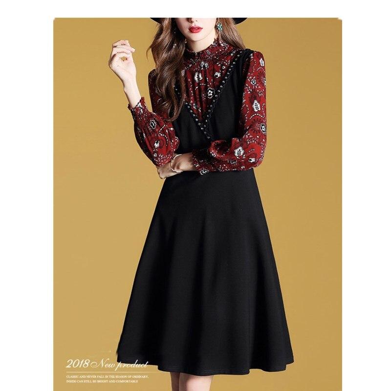 Femmes Couture Imprimé Dame Manches Printemps Neuf 2019 Picture Faux Européenne point Genoulongueur Color Nnew Pièces Robe Femelle Deux ligne A eWYbE2DHI9
