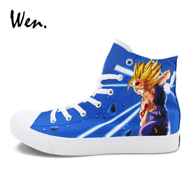 Wen Men Canvas Sneakers Hand Painted Shoes Custom Design Dragon Ball Z Son Goku Super Saiyan Anime Graffiti Shoes High Tops