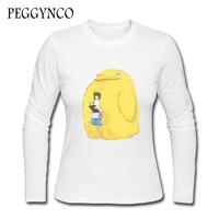 Cute Print T Shirt Women 2016 Long Sleeve Funny Cartoon T Shirts Graphic Tees Tops Female