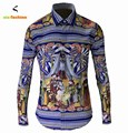 Newest Chinese Royal Style Mens Fancy Shirts Stylish Luxury Brand Cotton Long Sleeve Casual Slim Fit Dress Shirt Classic Tops