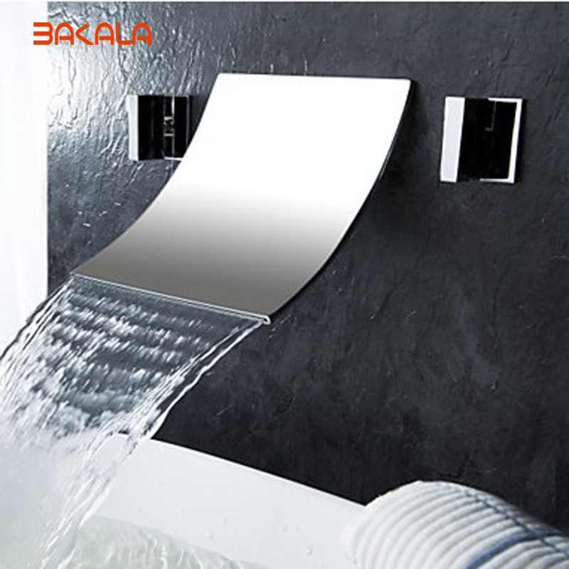 Freeshipping BAKALA Luxury 3 holes faucet Wall mounted waterfall sink faucet waterfall high tap brass basin mixer  LT-304-2 free shipping luxury three piece bathroom faucet brass chromed basin tap wall mounted waterfall faucet lt 303