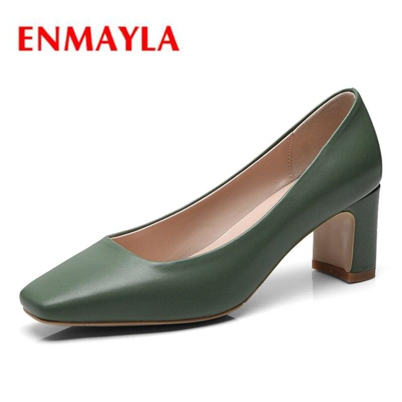 ENMAYLA/повседневные женские слипоны из натуральной кожи с квадратным носком на квадратном каблуке, женская обувь на высоком каблуке, размеры ...