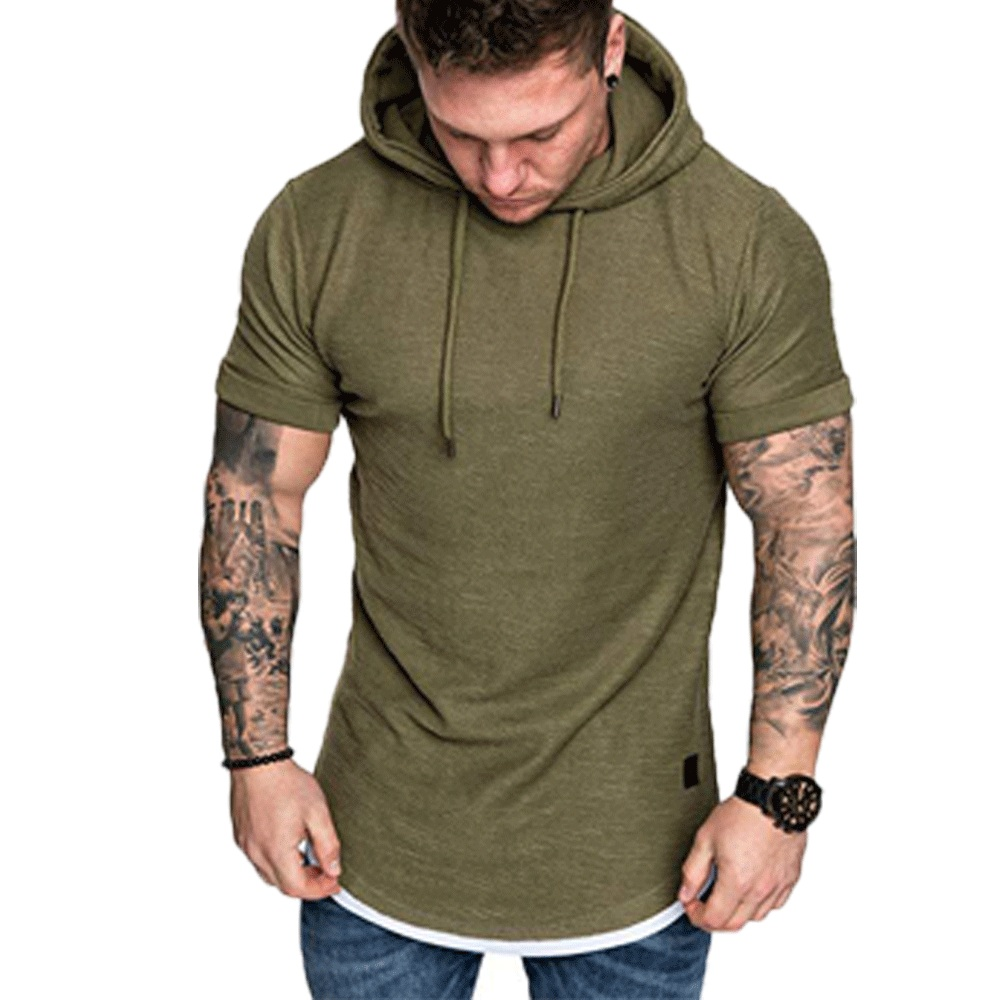 New Fashion Men Hoodies Short Sleeve Tee Solid Mens Casual Hooded Summer Male Fashion Top Plus New Fashion Men Hoodies Short Sleeve Tee Solid Mens Casual Hooded Summer Male Fashion Top Plus US Size M-2XL 2019 Hot