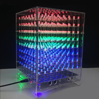 DIY 8x8x8 512 LED 3D Licht Cube Kit Acryl Case Muziek Spectrum Voor Reclame Display Elektronische productie Shell Case|Advertentie Verlichting|Licht & verlichting -