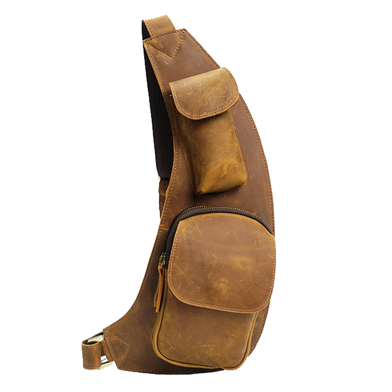 High Quality Genuine Leather Men's Chest Bag Casual Style Crossbody Messenger Sling Bag Spost Pack Travel Bag YD8039 casual canvas satchel men sling bag