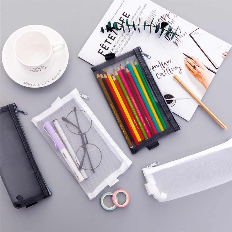 Pencil Bag Transparent Mesh School Pencil Case Large Capacity Nylon Pen Bag Case for Office Supplies Cute Stationery Kids Gift