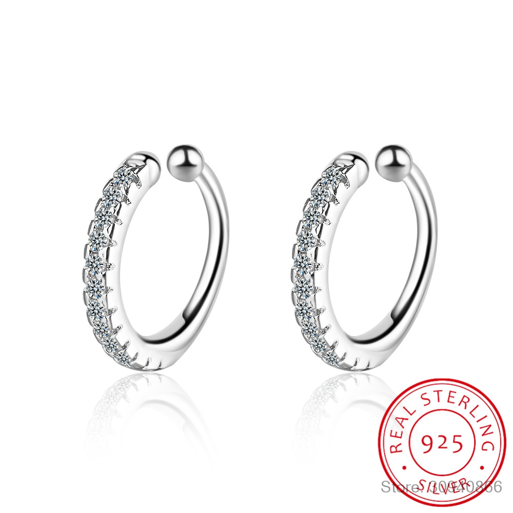 Earcuff Earings 925 Sterling Delicate Clear CZ Earring Small Sized Little Girl Earring Cuff Ear Micro Pave Zirconia Circle
