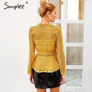 Image 4 - Simplee Elegant lace hollow out peplum blouse shirt women Ruffles long sleeve white blouse female Autumn winter tops office lady