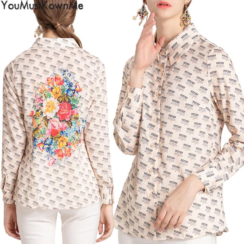 2019 d'été mode lettre impression de fleurs femmes chemises blouses grande taille à manches longues décontracté féminin chemises blouses dame top