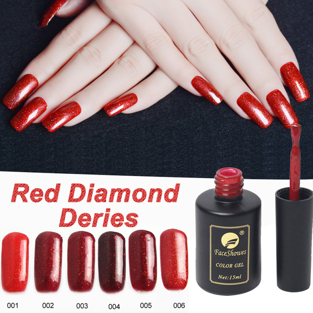 Red Diamond Gel Nail Polish 15ML 6 Colors Nail Gel UV LED Lamp Hot ...