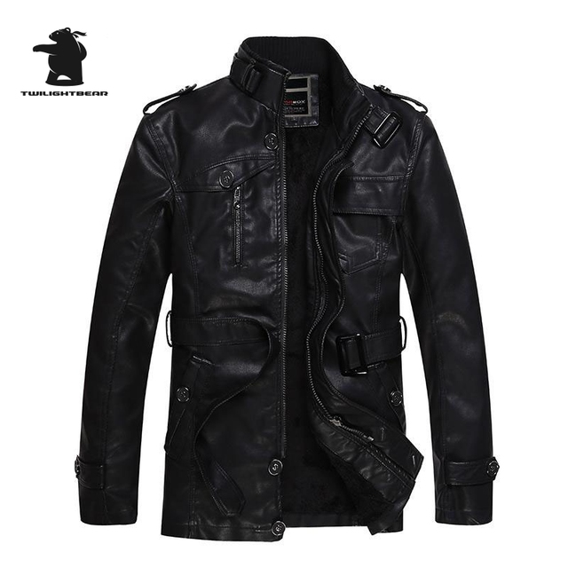 New brand men's long leather jacket winter fashion stand collar thickening plus size black PU leather jacket coat men  E8F12966