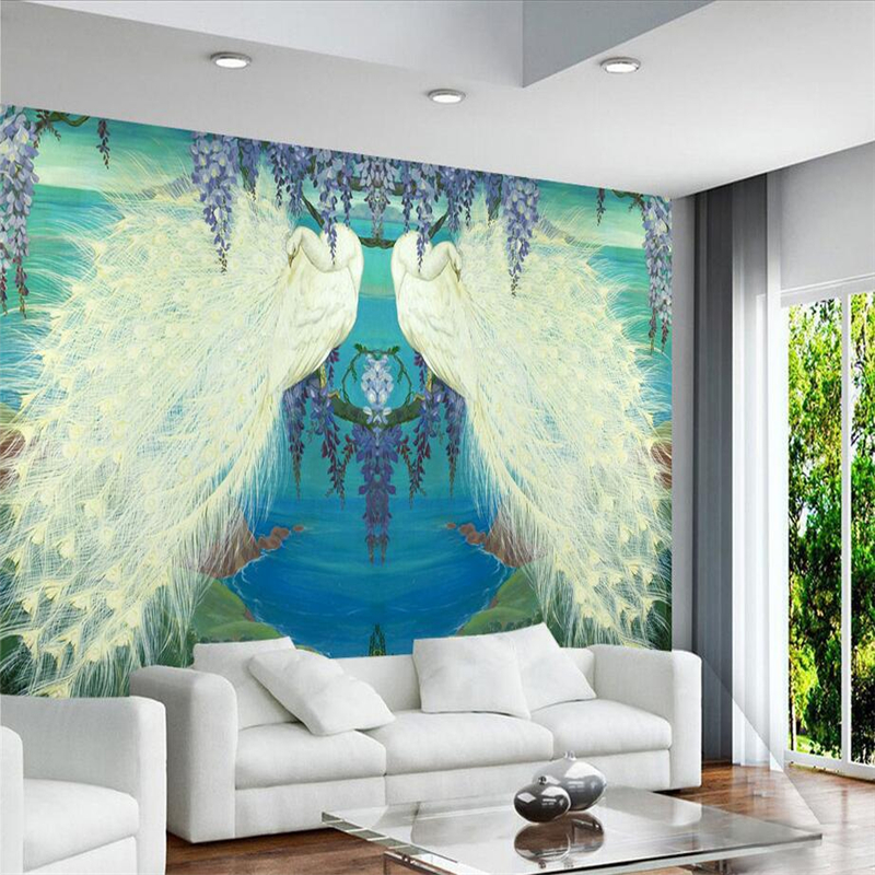 Custom Peacock Wallpaper Chinese Murals High Quality Embossed Non-Woven TV Background Wall Mural Wallpaper Living Room Bedroom 3d custom the house full of romantic love sea murals large mural peacock bedroom wallpaper tv wall wallpaper