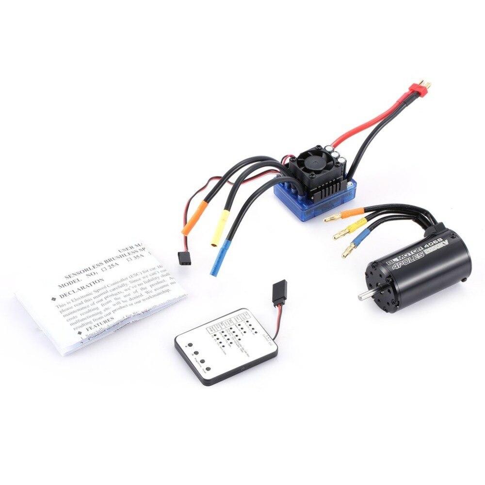 4068 2050KV 4 pôles sans capteur moteur sans balai 120A ESC avec LED carte de programmation Combo ensemble pour 1/8 RC voiture camion moteurs