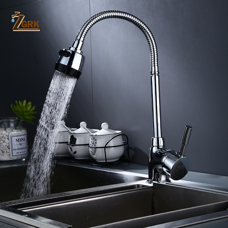 ZGRK Kitchen Faucets Pull Out Black Sink Crane Swivel Faucet Mixer Tap Function Hot And Cold Water Outlet Rubinetti Da Cucina