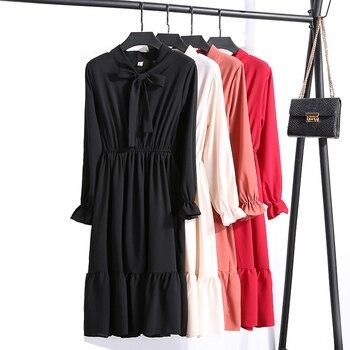 4bd73edd19b46aa 2019 весеннее платье с длинным рукавом офисное винтажное платье в горошек  женское повседневное красное цветочное осеннее платье шифоновое п.